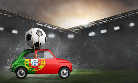 Portugal flag on car delivering soccer or football ball at stadium