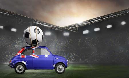 Australia flag on car delivering soccer or football ball at stadium