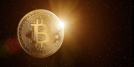 Bitcoin with rising sun behind, in starry space.