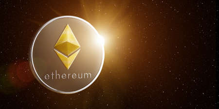Ethereum with rising sun behind, in starry space.