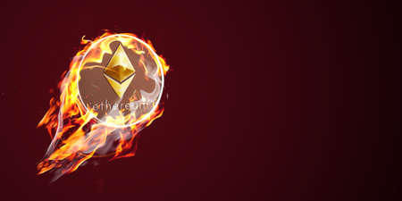 Etherium on fire. Flaming eth coin is going up 스톡 콘텐츠