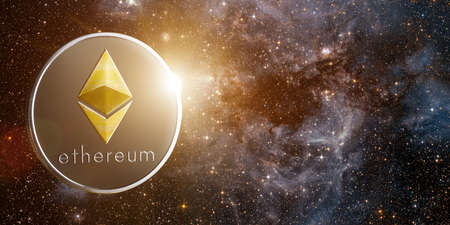 Ethereum with rising sun behind, in starry . Elements of this image furnished by