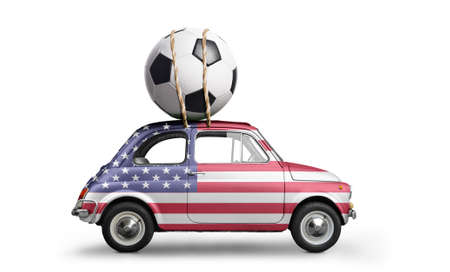 USA flag on car delivering soccer or football ball isolated on white background