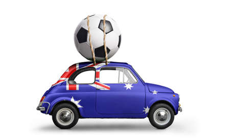 Australia flag on car delivering soccer or football ball isolated on white background
