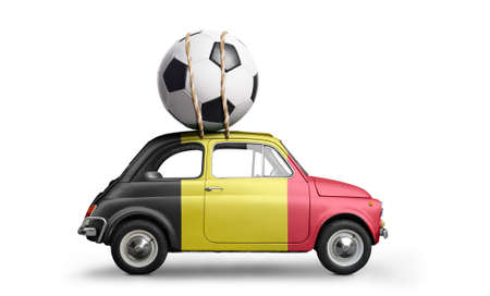 Belgium flag on car delivering soccer or football ball isolated on white background Stock Photo