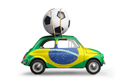 Brazil flag on car delivering soccer or football ball isolated on white background