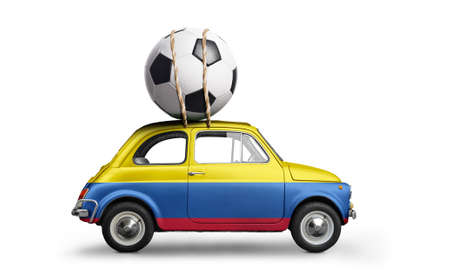 Colombia flag on car delivering soccer or football ball isolated on white background Stock Photo