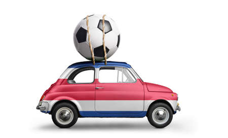 Costa Rica flag on car delivering soccer or football ball isolated on white background