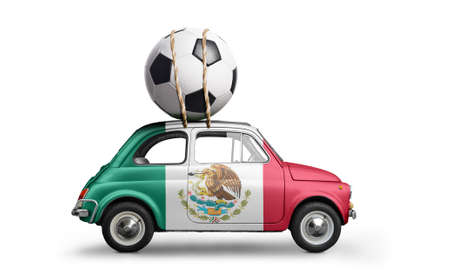 Mexico flag on car delivering soccer or football ball isolated on white background