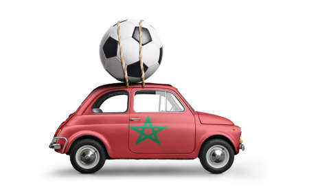 Morocco flag on car delivering soccer or football ball isolated on white background Stock Photo