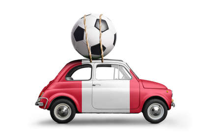 Peru flag on car delivering soccer or football ball isolated on white background