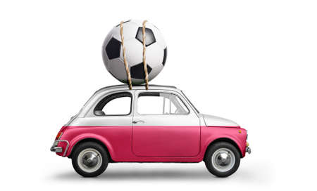 Poland flag on car delivering soccer or football ball isolated on white background Stock Photo