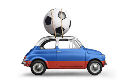 Russia flag on car delivering soccer or football ball isolated on white background Stock Photo