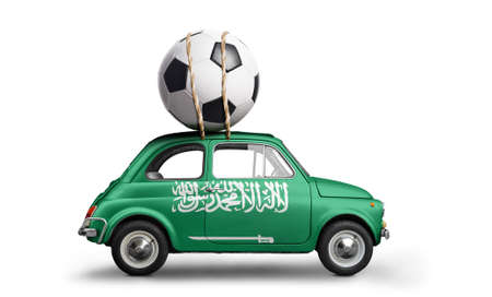Saudi Arabia flag on car delivering soccer or football ball isolated on white background Stock Photo