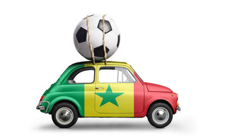 Senegal flag on car delivering soccer or football ball isolated on white background Stock Photo