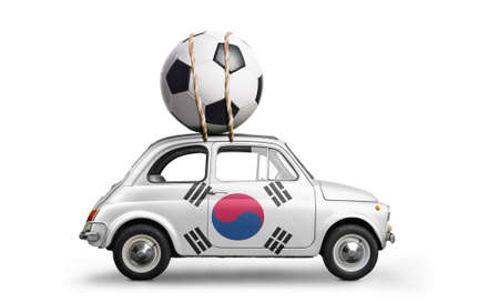 Korea flag on car delivering soccer or football ball isolated on white background