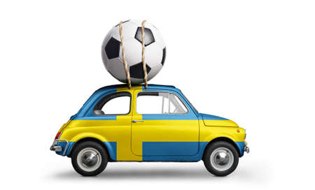 Sweden flag on car delivering soccer or football ball isolated on white background Stock Photo