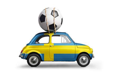 Sweden flag on car delivering soccer or football ball isolated on white background Standard-Bild - 103662858
