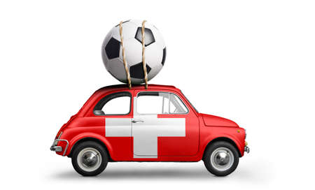 Switzerland flag on car delivering soccer or football ball isolated on white background Stock Photo