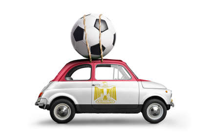 Egypt flag on car delivering soccer or football ball isolated on white background