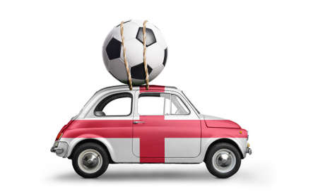 England flag on car delivering soccer or football ball isolated on white background