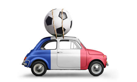 France flag on car delivering soccer or football ball isolated on white background