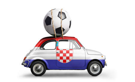 Croatia flag on car delivering soccer or football ball isolated on white background Stock Photo