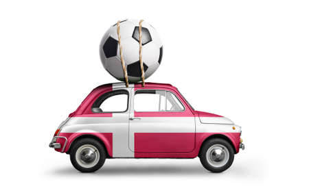 Denmark flag on car delivering soccer or football ball isolated on white background
