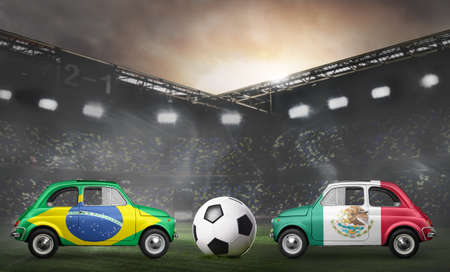 Brazil and Mexico flags on cars with soccer or football ball at stadium