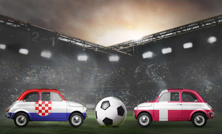 Croatia and Denmark flags on cars with soccer or football ball at stadium