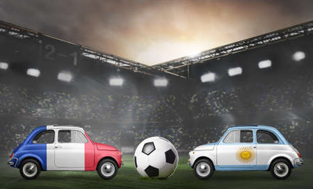 France and Argentina flags on cars with soccer or football ball at stadium