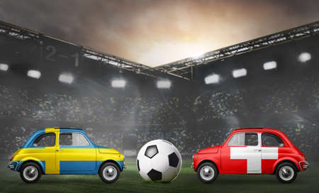 Sweden and Switzerland flags on cars with soccer or football ball at stadium Stock Photo