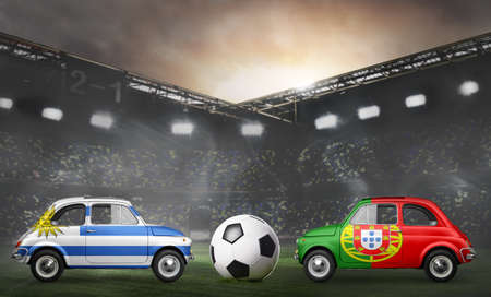 Uruguay and Portugal flags on cars with soccer or football ball at stadium Stock Photo