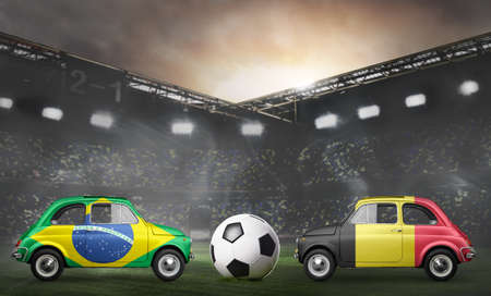 Brazil and Belgium flags on cars with soccer or football ball at stadium