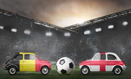 Belgium and England flags on cars with soccer or football ball at stadium