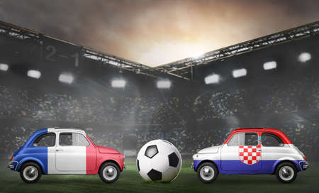 France and Croatia flags on cars with soccer or football ball at stadium