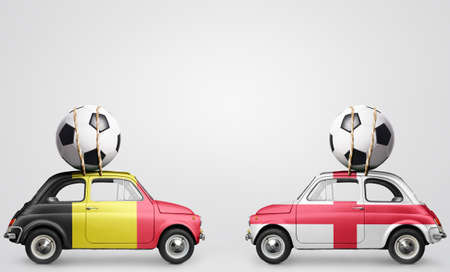 Belgium and England flags on cars with soccer or football balls on gray background Stock Photo