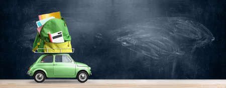Back to school sale background. Car delivering backpack full of accessories against blackboard
