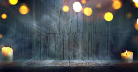 Misty room. Halloween night wooden table and wall background.