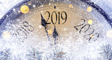 Countdown to midnight. Retro style clock counting last moments before Christmass or New Year 2019. Archivio Fotografico - 108358581