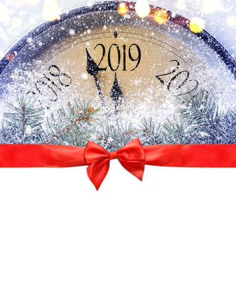 Countdown to midnight. Retro style clock is counting last moments before Christmas or New Year 2019 on blank white background, clipping path provided. View from above. Stock fotó