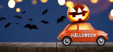 Coche de Halloween entregando calabaza contra el fondo azul. Foto de archivo