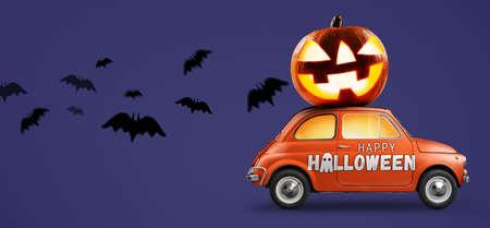 Halloween car delivering pumpkin against purple background