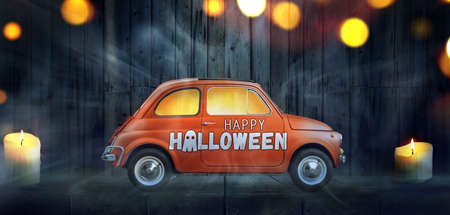 Happy Halloween car against night scary room background