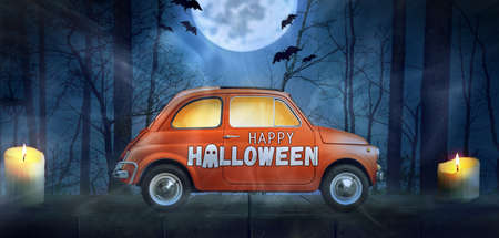 Happy Halloween car against night scary autumn forest background