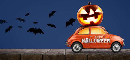 Halloween car delivering pumpkin against blue background