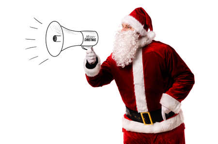 Santa Claus with megaphone isolated on white background 版權商用圖片 - 113928377