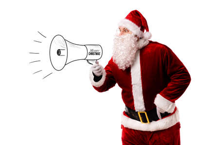 Santa Claus with megaphone isolated on white background