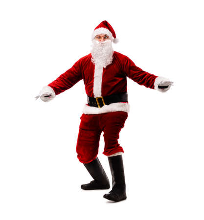 Santa Claus surfing isolated on white background