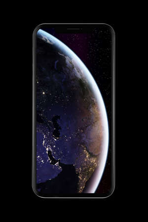 bezel-less smartphone with Earth picture on screen, isolated on white background.